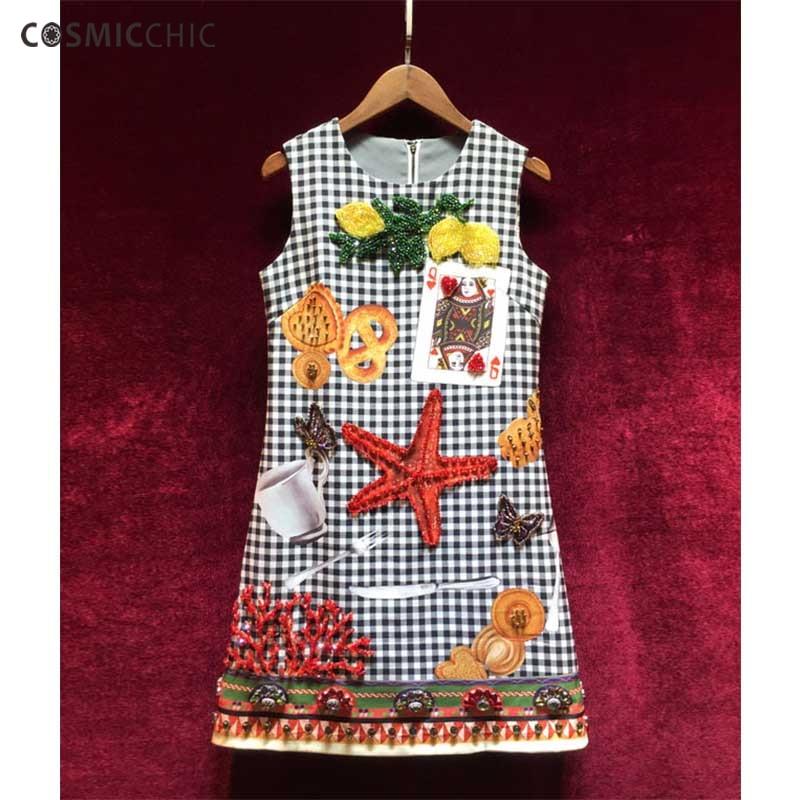 Cosmicchic Summer Runway Vintage Mini Dress Beading Diamonds Starfish Poker Cards Plaid Sleeveless Designer Elegant Dress 2018