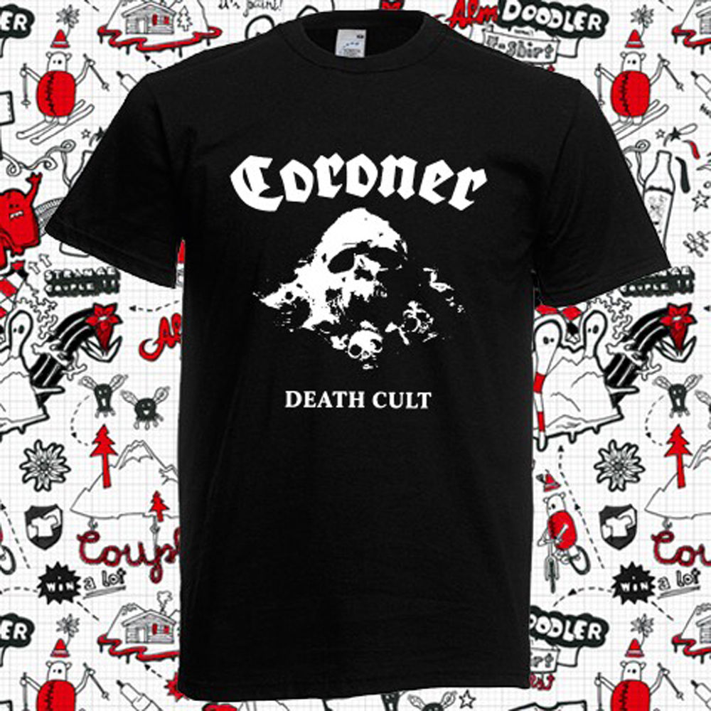 Новый коронер Death Cult Швейцарский трэш-метал-группа Для мужчин черный футболка Размеры S-3XL ...