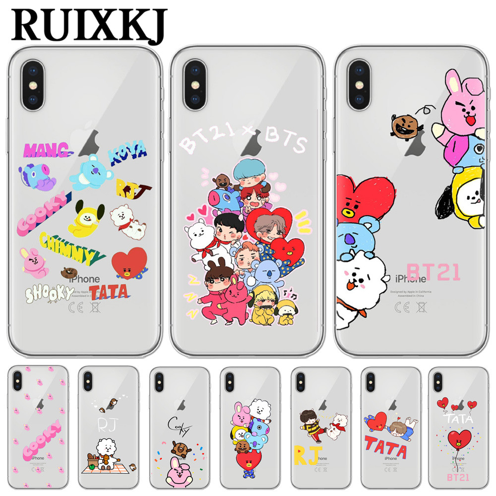 Phone Cases Bts Bangtan Boys Cute Cartoon For Iphone X 10 5 5s Se 6 6s 7 8 Plus High Quality Clear Soft Tpu Silicone Coque Cover Clothes, Shoes & Accessories