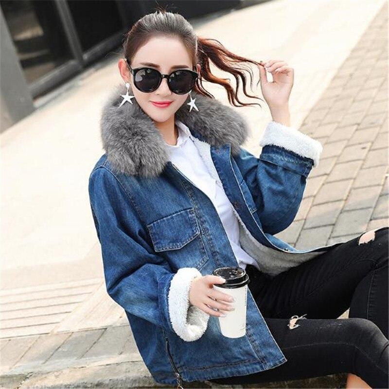 Épaissir Automne Femelle 2018 Court Femmes De Veste Nouvelle Blue Jean Imitation Col Agneau Hiver Paragraphe Outwear Cheveux Fourrure coréen Lâche En rqHr10