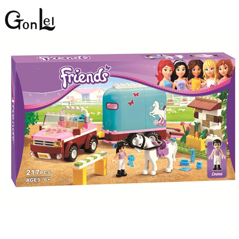 2016 new Friends series the Emma's Horse Trailer Building Block Classic girl toys figures Compatible with Lepin 3186 new 7033 friends series the city park cafe pirate ship model building block classic girl toys compatible with lepin