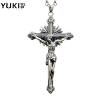 Fashion Men 925 Silver Jesus Cross Necklace Vintage Pendant Silver Jewelry Boys Cool Personality Accessories