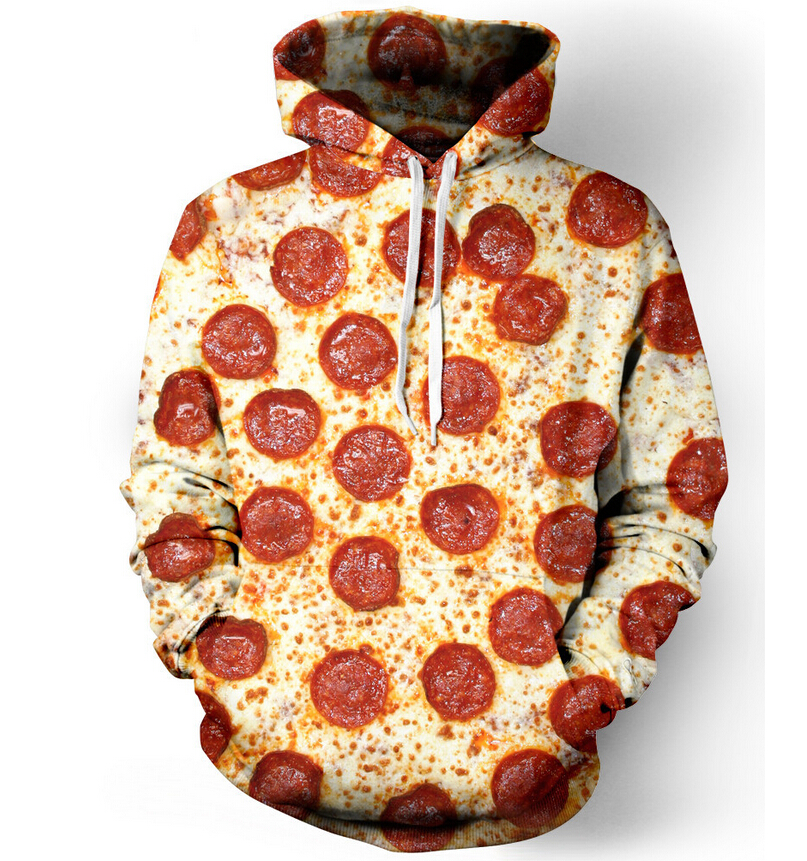 Harajuku Hooded Sweatshirt Women Men Pepperoni Pizza/Hamburger/Donuts 3D Hoodie Outerwear Pullover food printing jumper