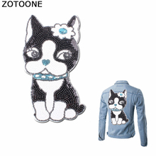 ZOTOONE Sequin Dogs Back Patch on Clothing Puppy Sewing Patches for Clothes Applique Garment Large DIY Application Jacket
