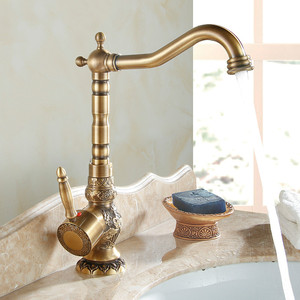 Antique Brushed Kitchen Faucet European Carved Basin Rotating Single Handle Hole Heightening Section Bathroom Accessories Sets