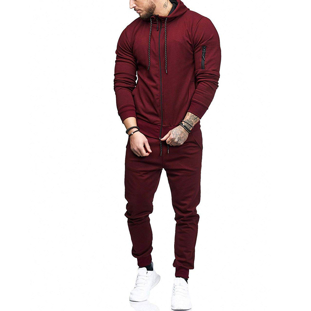 HTB1PAAZwYZnBKNjSZFhq6A.oXXag 2019 fashion Patchwork Zipper Sweatshirt Top Pants Sets Sports Suit solid color slim Tracksuit High Quality Pullover clothing