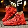 Красный Моды для Мужчин Кроссовки Дышащий Весна Мужчины Повседневная Обувь Зашнуровать Высокие Верхние Мужчины Тренеры X943 35