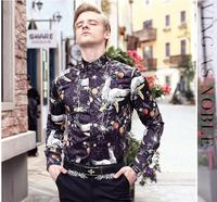 FanZhuan 2017 Free Shipping New Fashion Casual Male Men S Personality Long Sleeved Slim Shirt Crane