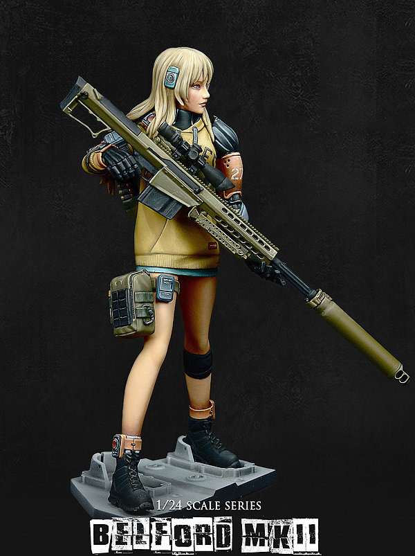 1/24 High 75mm Fantasy Modern Girl Soldier Belford 75mm     Toy Resin Model Miniature Resin Figure Unassembly Unpainted