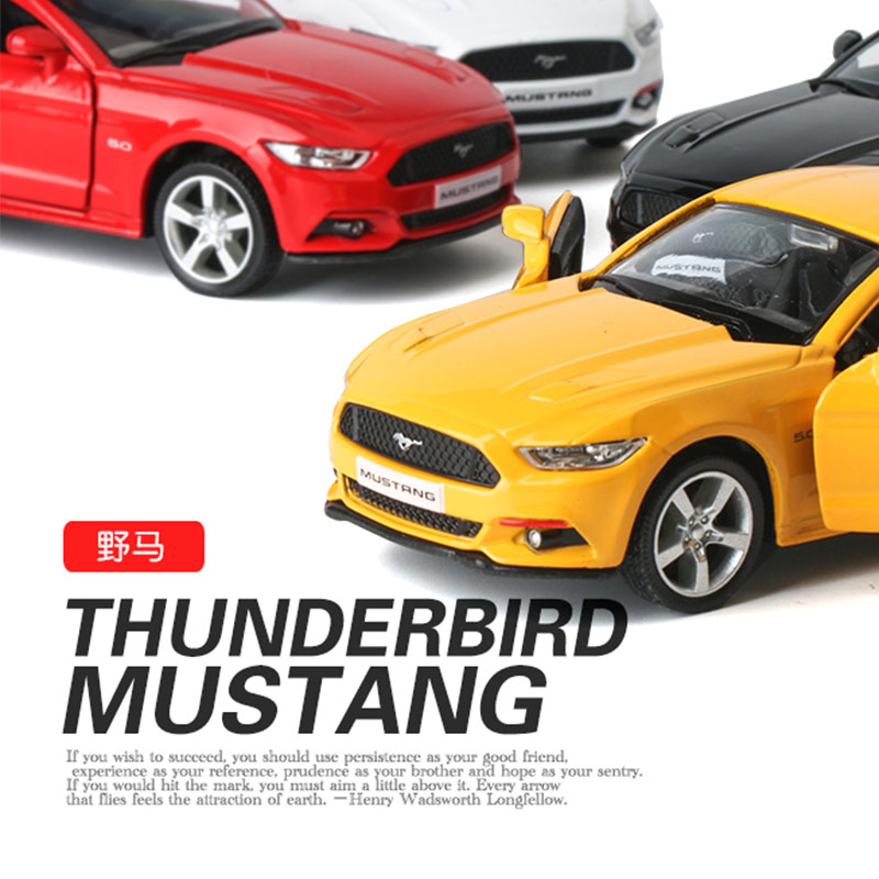 136 ford mustang kids toys alloy car model strong pull back can open the