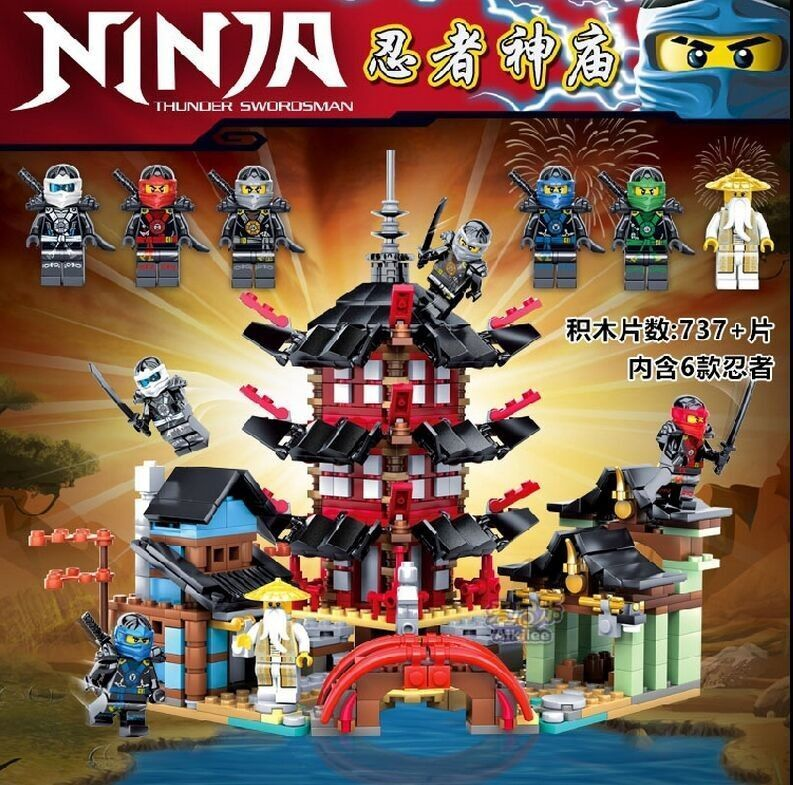 Ninja Temple Of Airjitzu Ninjagoes Smaller Version Bozhi 737 Pcs Blocks Set Compatible With Legoe Toys