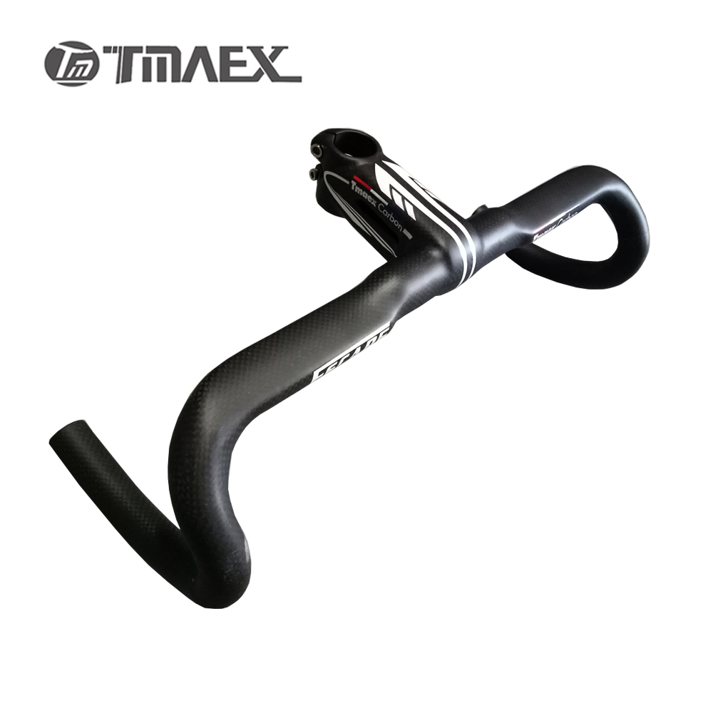 Handlebar Full Carbon Fiber Road Car Bicycle Stem Thighed One Piece Handle Road Bike Carbon handlebar bended carbon fiber one highway full carbon fiber road bike handlebar highway bicycle handle carbon road handlebar bike parts