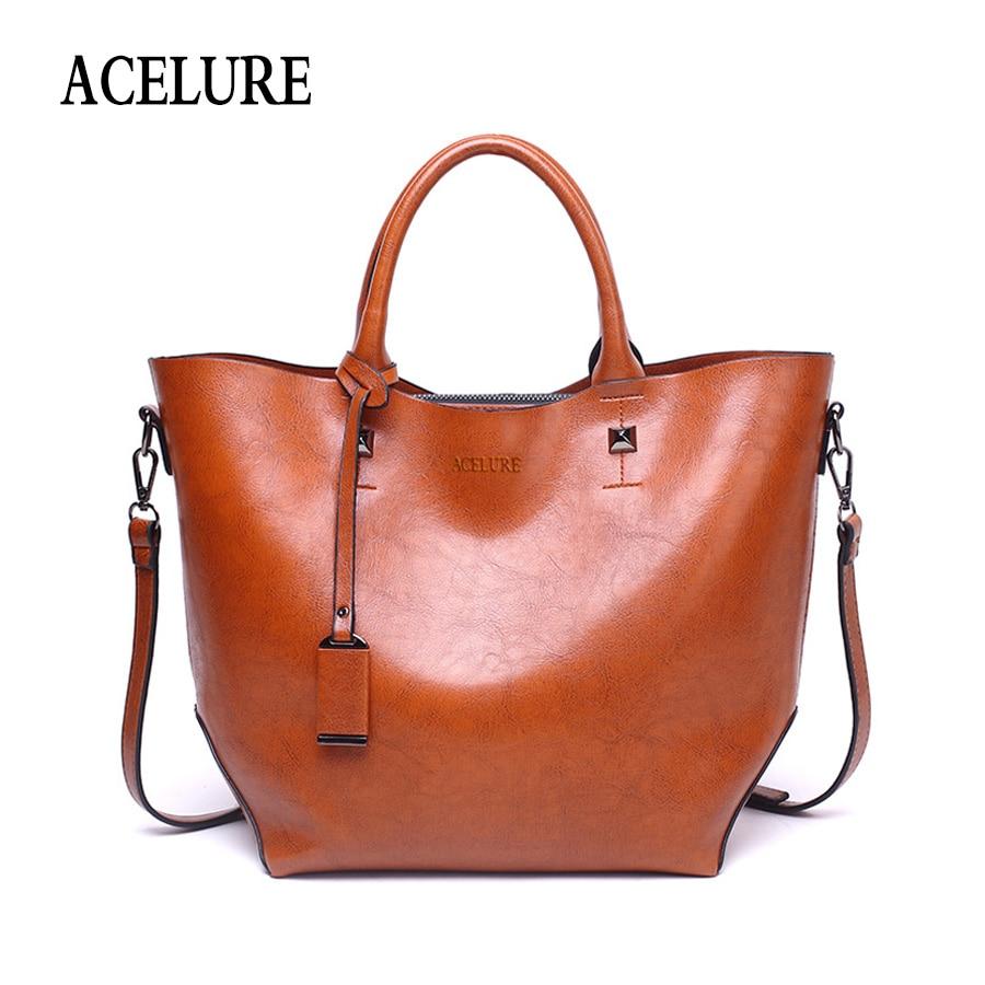 7c03779aded7 ACELURE Women Bucket Bag Oil Wax Women Leather Handbags Big Tote Famous  Brands High Capacity Female