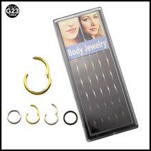 40 개/상자 G23 티타늄 Septum 리모콘 코 후프 피어싱 링 혼합 색상 코 뼈 패션 걸스 쥬얼리 16g,14g