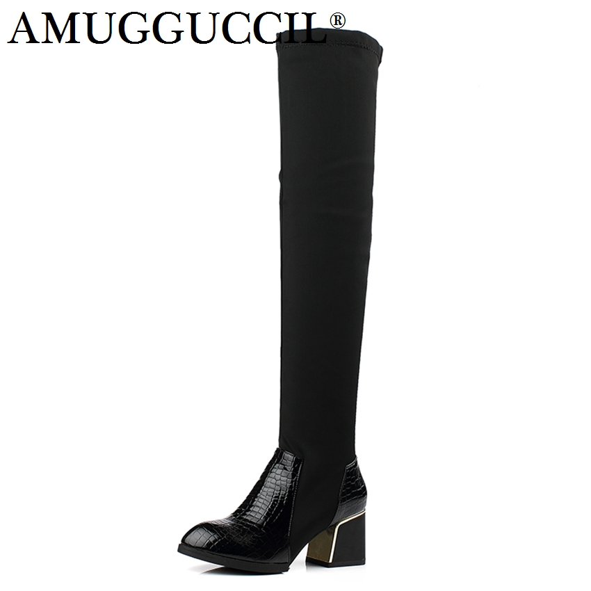 2017 New Arrival Plus Big Size 33-43 Black Fashion Sexy Over The Knee Thigh High Heel Autumn Winter Girl Women Boots X1656 2016 brand new winter sexy women thigh high fur boots black gray lady over the knee shoes chunky heel etc02 plus big size 10 43