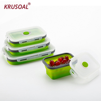 4pcs/set Silicone Lunch Box Portable Bowl Colorful Folding Food Container Lunchbox 350/500/800/1200ml Eco Friendly