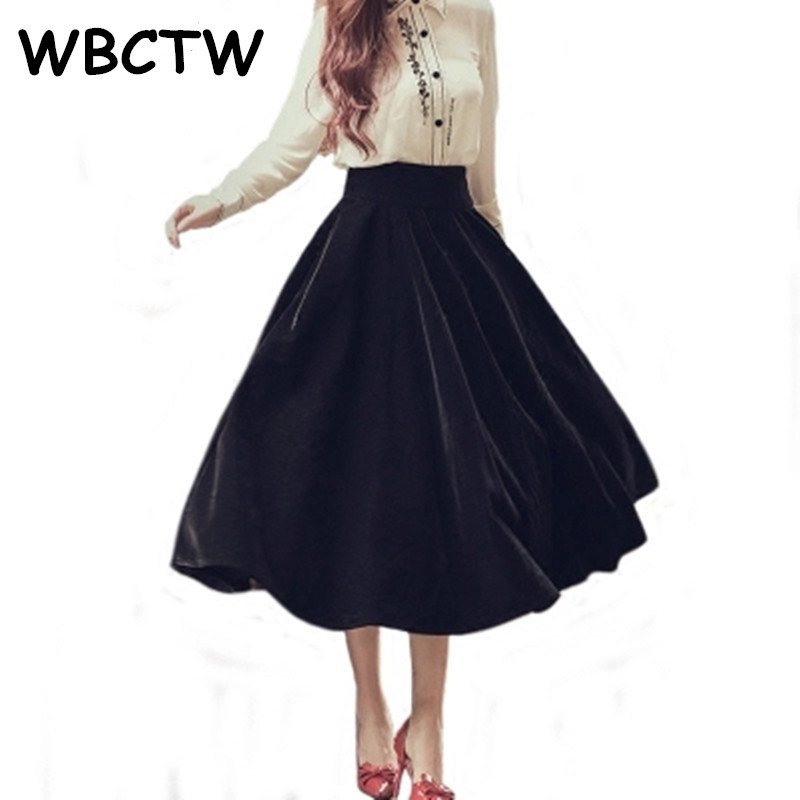 WBCTW 10XL Plus Size Skirt Audrey Hepburn Style Black Skirts 50s 60s Style A Line Maxi Long Women Vintage Elegant Velvet Skirt