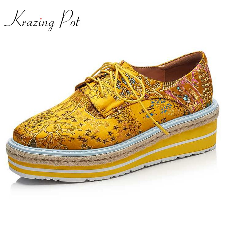 krazing pot embroidery silk flowers high heels women brand shoes wedges round toe increased straw decoration platform shoes L87 2018 fashion high heels women brand pumps wedges genuine leather square toe cross tied platform increased straw rome shoes