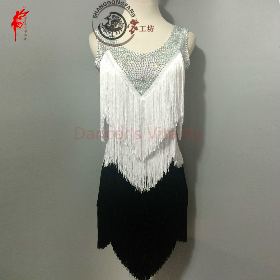 Gilrs Latin Dance Clothing Dress Tassel Stones Sleeveless Latin Dance Dress For Women Latin Dance Clothes Lady Dress XXS-6XL