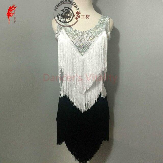 Gilrs latin dance clothing dress tassel stones sleeveless latin dance dress for women latin dance clothes lady dress XXS-6XL