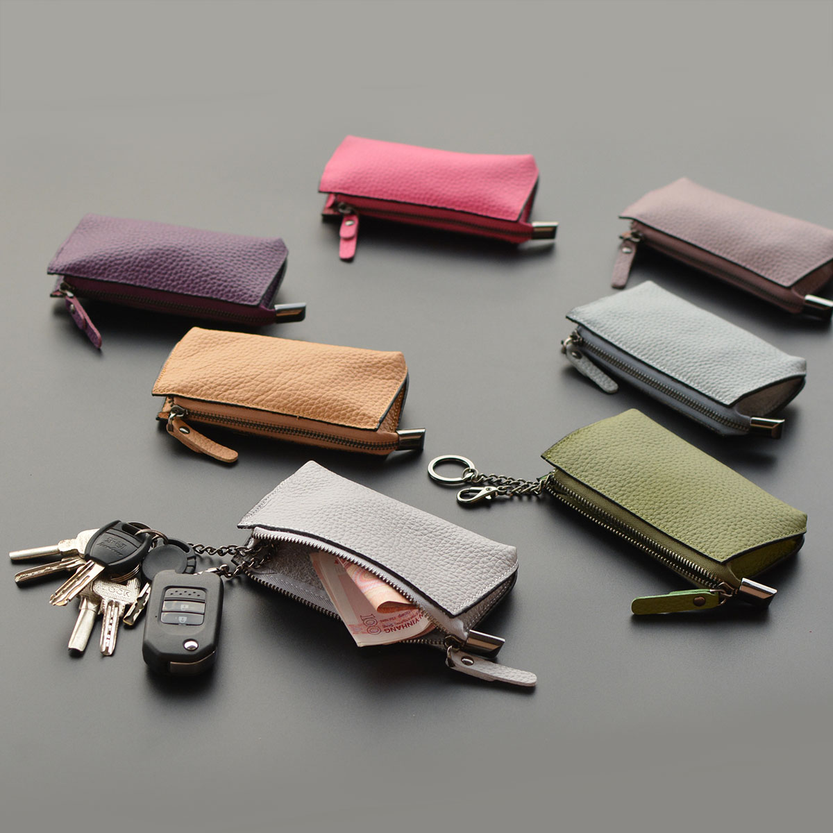 Porte Cle Security Door With Key Chain Receive A Multi-functional Leather Cowhide Han Edition Mini Zipper Bag Ladys Zero Purse