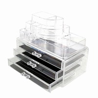 4 Drawers Clear Cosmetic Drawers Jewelry Makeup Storage Display Organizer Box Make up Case Container Stand Holder Good Use!