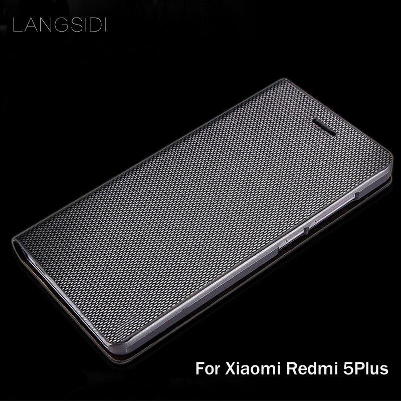 LANGSIDI brand genuine leather phone case diamond Pattern clamshell handphone shell For Xiaomi Redmi 5Plus All- handmade