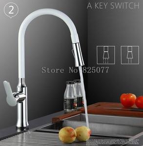 Image 3 - _ 360 Поворотный смеситель с одной ручкой, смеситель для раковины, выдвижной кухонный смеситель, черный и белый, 4 цвета на выбор KF933