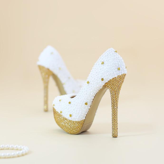 Goldene Perle Braut Schuhe Große Wasser Größe Hohen Yards Plattform Hochzeit Kleid Plus Absätzen Abendkleid Mit Hohe Kristall dUPwnrd0