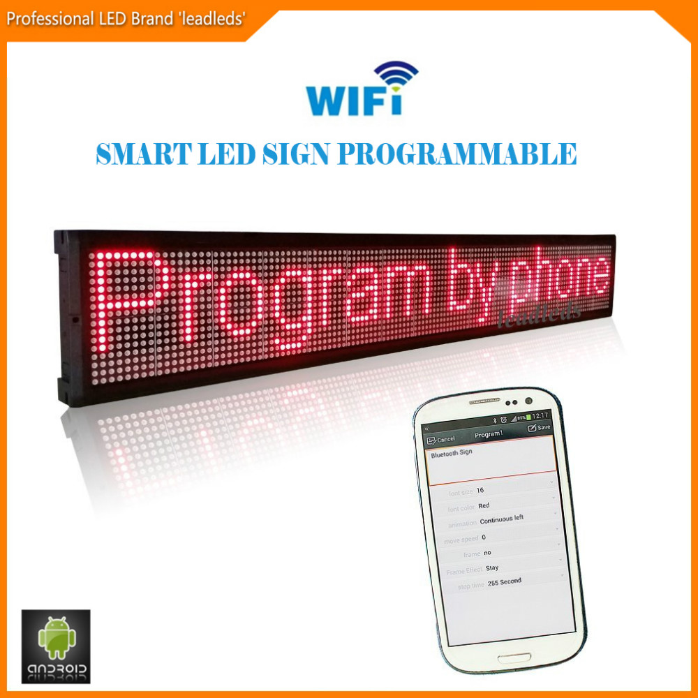 40Inch Wifi wireless remote Programmable Advertising LED Display Board Bright Red led sign for Business and