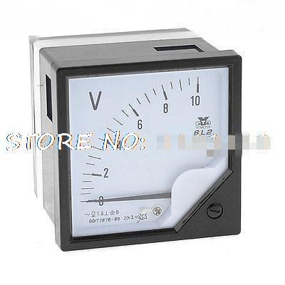 6L2-V AC 0-10V Square Panel Voltage Meter Analog Voltmeter 6l2 v panel ac voltmeter black white 0 450v