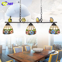 Fumat Mediterranean Style Stained Glass Suspension Light 3 Lights Art Creative Birds Pendant Lamp Kitchen Lighting
