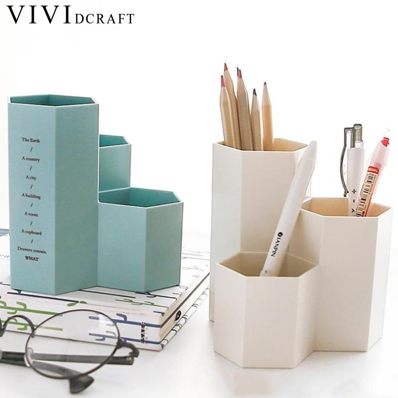 Merveilleux Office Desk Organizer Box Multifunction Pen Hexagon Pen Holder Stationery  Makeup Storage Boxes Cute Pencil Holders Organization