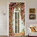 도어 스티커 3d 장미 꽃 창 벽지 pvc 자기 접착 방수 웨딩 하우스 홈 도어 데칼 벽 스티커 3d 포스터