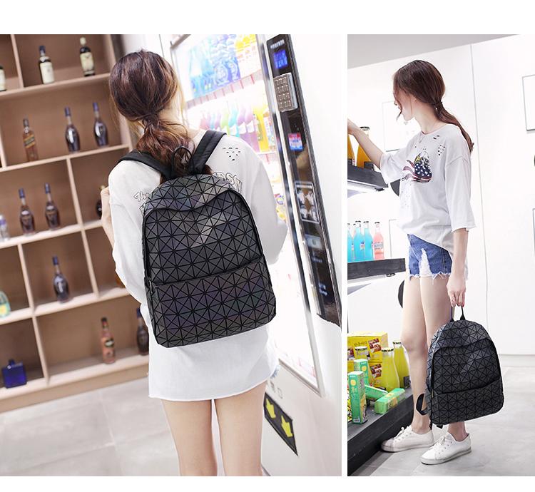 Lasen Bag New BaoBao Luminous Backpacks Female Fashion Girl Daily Backpack Geometry Package Sequins Folding Bao Bao School Bags (12)