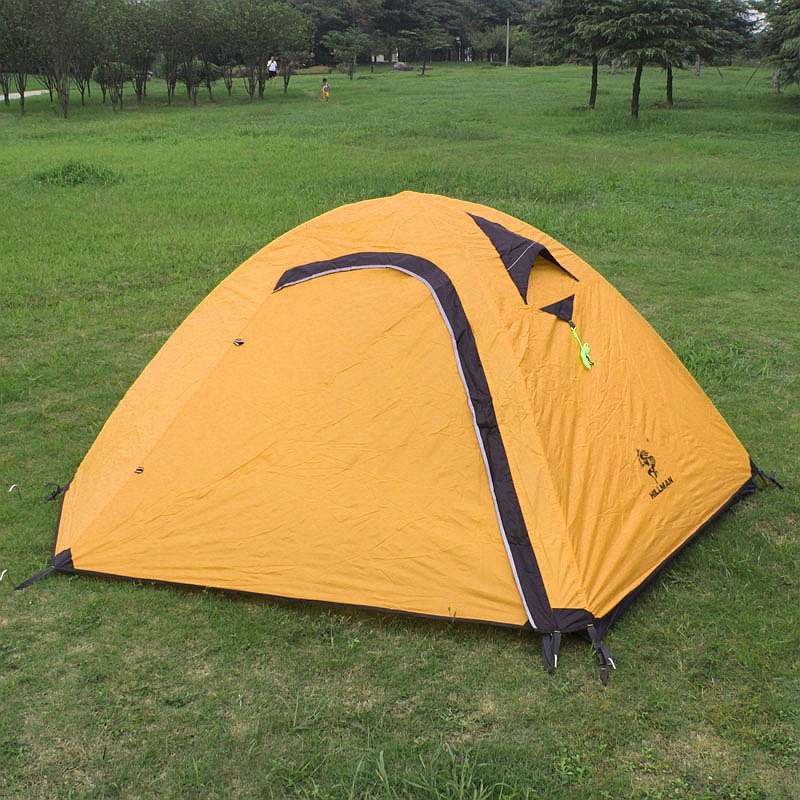 Hillman 2 Person Outdoor Tent Aluminum Poles Hiking Waterproof Camping Ultralight Double Layers Rainproof 2 Colors hillman 3 4 person double layer ultralight silicon tent 2d silicone coated nylon waterproof aluminum rod outdoor camping tent