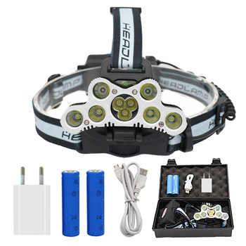 9 LED Rechargeable Headlamp 7x T6 + 2x Q5 Tactical LED Headlight Head Lamp Camping Fishing Light +2x 18650 Battery +Charger