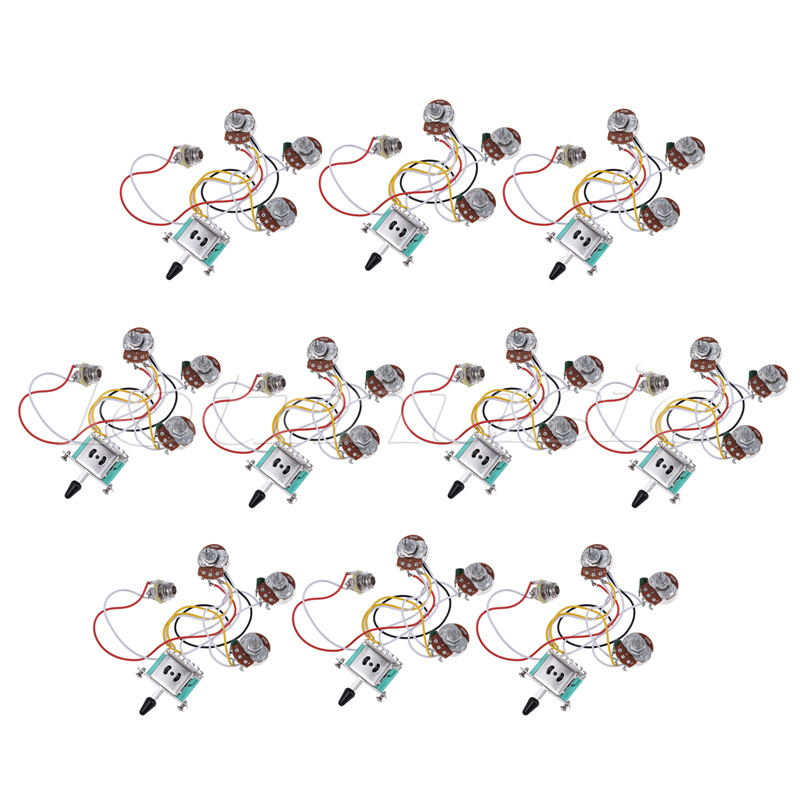 Electric Guitar Wiring Harness Prewired Kit 5 Way Toggle Switch 250K 2T1V Pots for Strat Parts