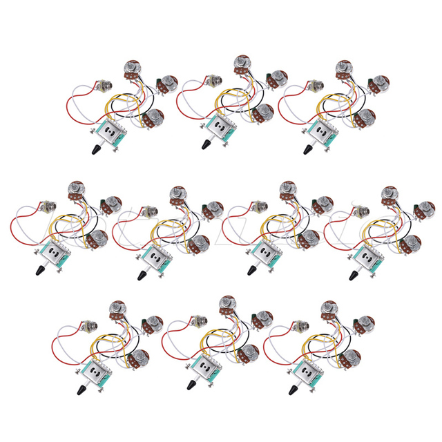 Electric Guitar Wiring Harness Prewired Kit 5 Way Toggle Switch 250K 2T1V Pots for Strat Parts  sc 1 st  AliExpress.com : guitar toggle switch wiring - yogabreezes.com