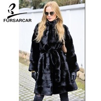 FURSARCAR 100 CM Long Style Real Mink Fur Coat Women 2018 New Luxury Winter Fur Jacket With Stand Collar Female Mink Fur Coat