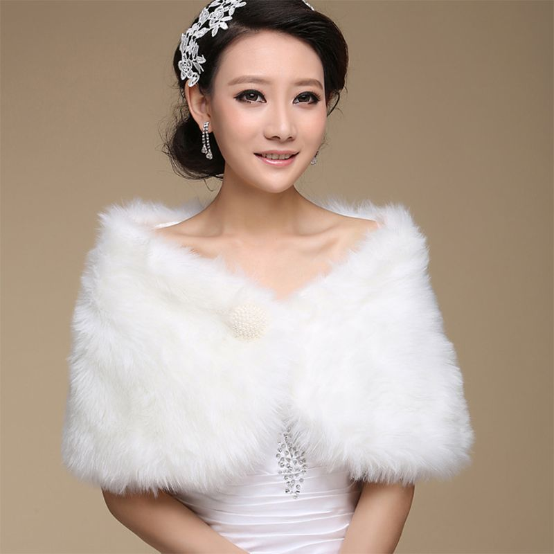 Womens Lady Artificial Fur Shawl Wrap White Shrug Off Shoulder Cape Pashmina With A Faux Pearl Ball Bridal Wedding Party Jacke