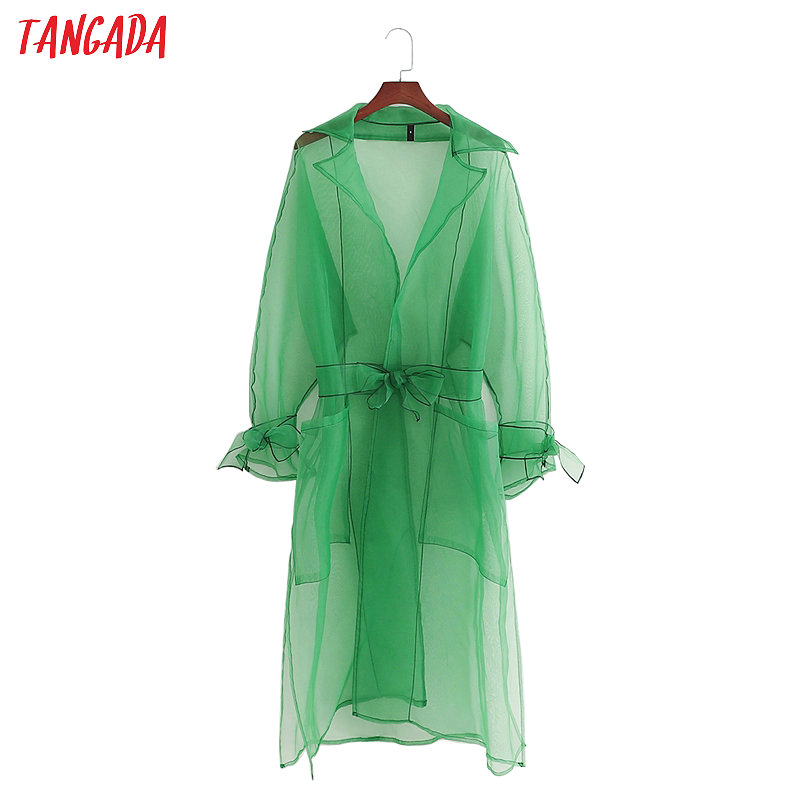Tangada fashion women transparent green long   trench   coat elegant bow belt cardigan ladies holiday beach style long tops 1D312