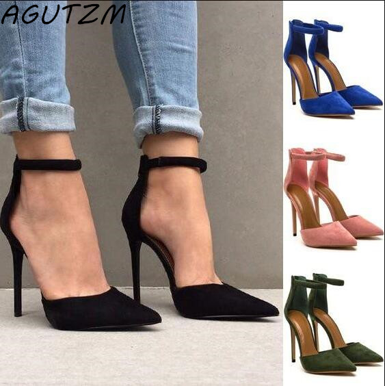 AGUTZM Fashion Women Sandals Female Sexy Ankle Strap High Heels Suede Party Shoes Open Toe Buckle Cover Heels Ladies Stiletto new fashion rivet hollowed out women sandals round toe chunky high heels ankle buckle female sandals mesh ladies leisure shoes