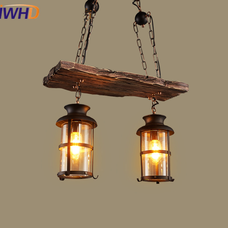IWHD American Loft LED Pendant Lights Vintage Industrial Pendant Lamp E27*2 Wooden Droplight Fixtures For Home Lighting Bar Cafe