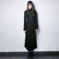 Гот Винтаж расклешенные рукава Высокий Воротник Вязание Платье стимпанк Хэллоуин классический черный костюм платья