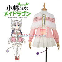 W1174 Anime Miss Kobayashi's Dragon Kanna Kamui Dress Cosplay Costume Custom Made Girl Lolita Pink Skirt Women Maid Mini Dress