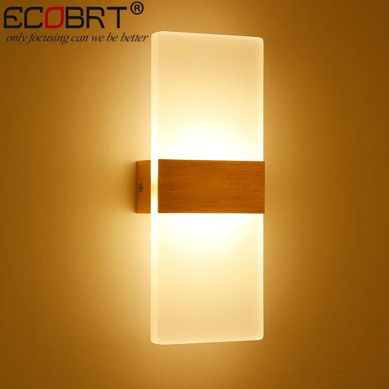 ECOBRT Modern 6W LED Wall Lights Bathroom Lighting High Quality Aluminum Base Acrylic Square Wall Lamps