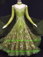 Standard Ballroom Dresses New Design Green Stage Waltz Tango Dancing Costume Flamenco Ballroom Competition Dance Dress