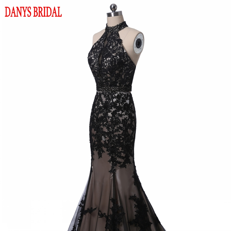 Elegant Black Lace Evening Dresses Mermaid Long Party Halter Tulle - Gaun acara khas - Foto 3