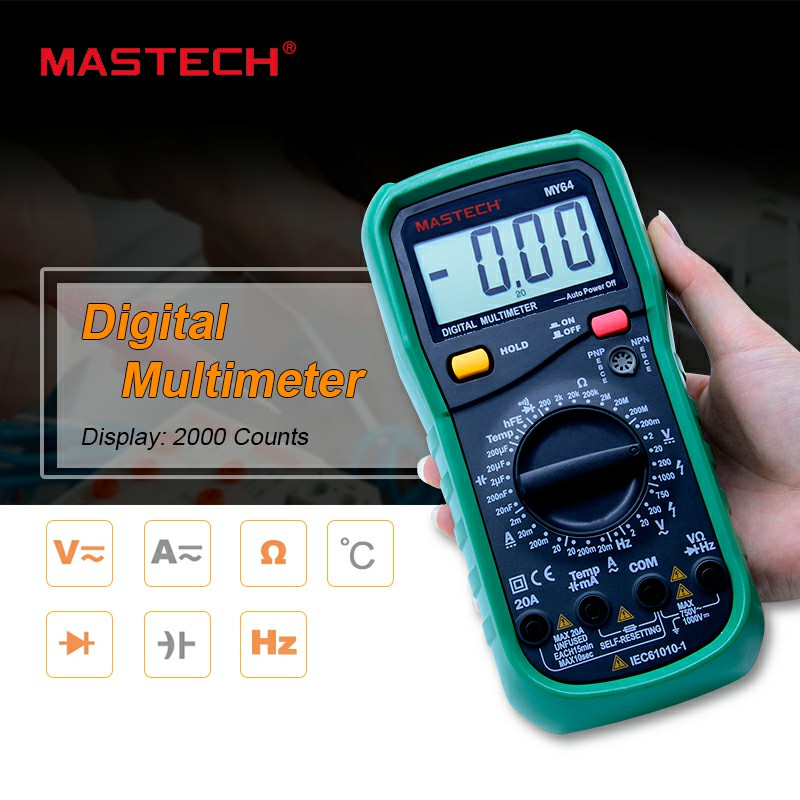 MASTECH MY64 Digital Multimeter AC/DC DMM Frequency Capacitance Temperature Meter Tester w/ hFE Test Ammeter Multitester new ms8221c digital multimeter auto manual ranging dmm temperature capacitance hfe tester
